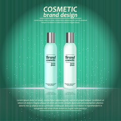3D realistic cosmetic bottle ads template. Cosmetic brand advertising concept design with glowing sparkles on abstract texture background