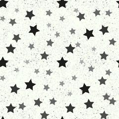 Black stars seamless pattern on white charming background.