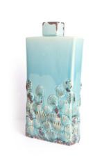 blue ceramic vase on a white background.