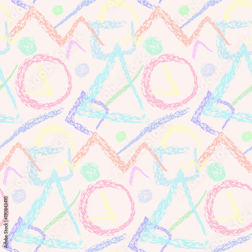 Pastel Color Scandinavian Seamless Pattern With Grunge