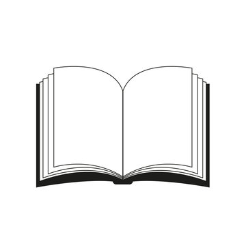 Open book vector clipart silhouette, symbol, icon design. Illustration isolated on white background.