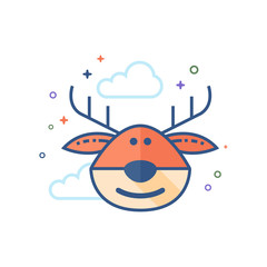 Reindeer the moose icon in outlined flat color style. Vector illustration.