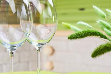 empty wine flutes