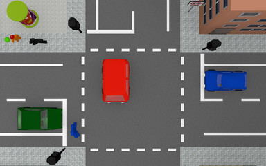 Road junction with colorful cars and traffic lights. View from above.
