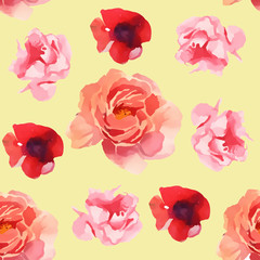 watercolor illustration of flower seamless pattern isolated on color background