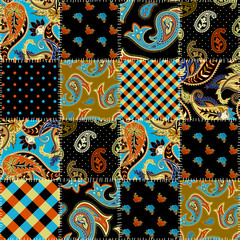 Seamless background pattern. Geometric patchwork pattern of a squares. Paisley ornament.