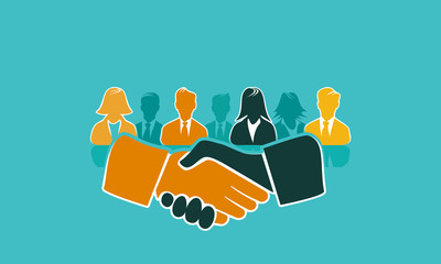 Handshake concept illustration with shaking hands and avatar silhouettes. Flat design and punchy pastel colors