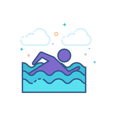 Man swimming icon in outlined flat color style. Vector illustration.