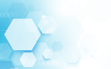 Wall Mural - Abstract hexagons technology concept background. Space for your text