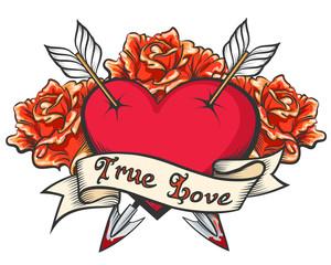 Heart pierced by two arrows