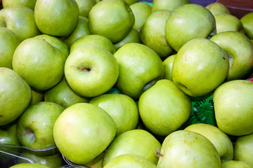 Closeup of green apples sold on the market in Israel