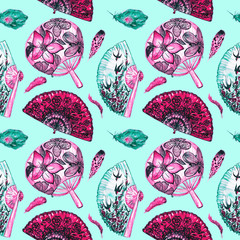Asian fans with cherry blossom, swallows and round with lotus, Spanish with black poppies, feathers, seamless pattern design red palette on green background, hand painted watercolor illustration