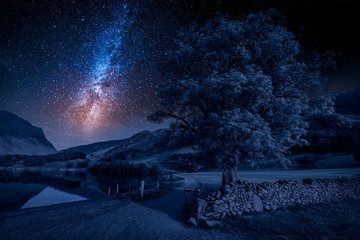Fototapete - Field in District Lake at night with stars, England