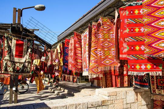 SKOPJE, MACEDONIA - OCTOBER 12, 2017: Vintage carpets in the old city of Skopje