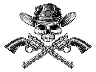 Sheriff Star Badge Cowboy Hat Skull and Pistols