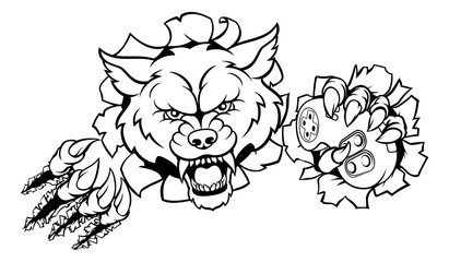 Wolf Esports Gamer Player Mascot