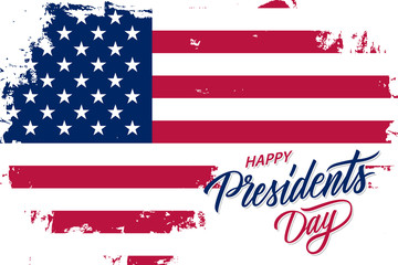 USA Happy Presidents Day celebrate banner with brush stroke background in United States national flag colors and hand lettering text design. Vector illustration.