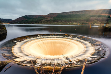 Bell mouth Overflow Plug Hole at Ladybower Reservoir
