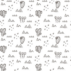 Desert seamless pattern with cactus and sand. Floral ornament