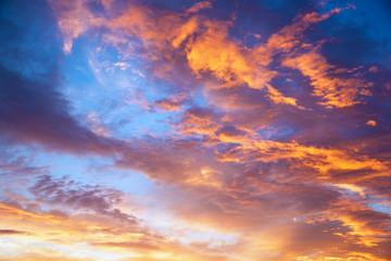 Aluminium Prints Heaven sunset sky with multicolor clouds