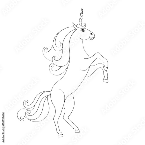 Fairy Tale Unicorn Sketch For Coloring Book