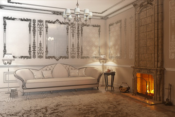 3d illustration. Beige classic living room with fireplace becomes a drawing