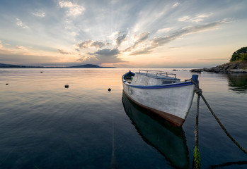 Lonely boat at sunset, near Burgas, Bulgaria