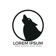 Howling wolf circle shaped logo design.