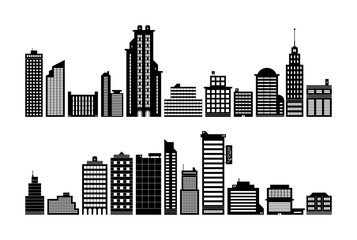 Set of modern city buildings. Black silhouette style.