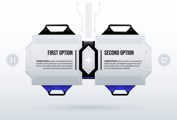 Two futuristic options in clean hi-tech/techno style on white background