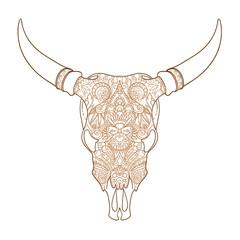 head skull bull black-and-white sketch cartoon doodle. vector illustration
