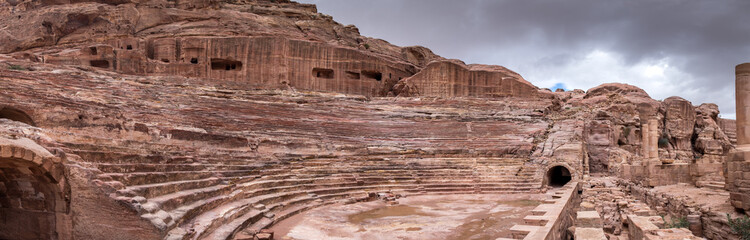 Very large panoramic view of Roman Amphitheatre in the ancient Arab Nabatean Kingdom city of Petra.  Jordan