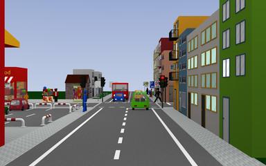 Stadtansicht mit roter Ampel und den Schildern, Zone 20, Schulbushaltestelle mit deutschem Text: Schullbus Werktags, parken auf dem Gehweg erlaubt, und Ende Zone 20. 3d render