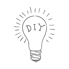 bulb idea black and white sketch cartoon doodle. vector illustration