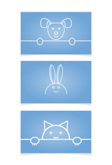 Template greeting cards with cute animals