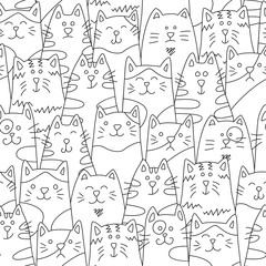 Cats. Seamless pattern in doodle and cartoon style. Black and white