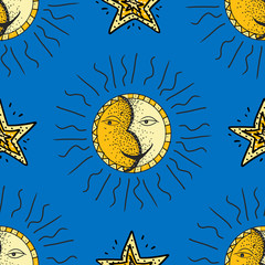 Hand drawn sun and moon pattern