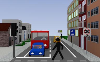 Hauptstraße mit den Schildern, Zone 20, Schulbushaltestelle mit deutschem Text: Schullbus Werktags, parken auf dem Gehweg erlaubt, und Ende Zone 20. 3d render