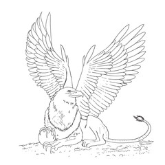 griffin black and white sketch cartoon doodle vector illustration