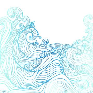 Blue and dark blue decorative doodles waves.
