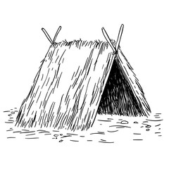 tent hut black and white sketch cartoon doodle vector illustration