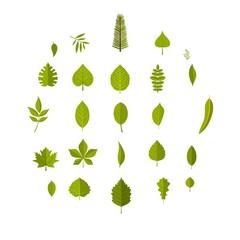 Leaf icons set. Flat illustration of 25 leaf vector icons isolated on white background