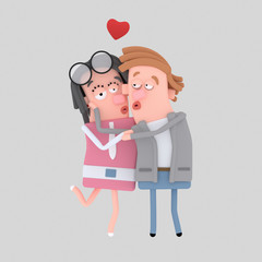 Couple in love kissing.