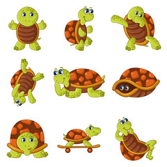 Happy turtle icons set, cartoon style