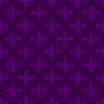 Mardi gras fleur de lis vector seamless pattern. Violet flower carnival card background.