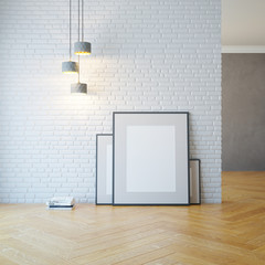 empty room with light and blank pictures