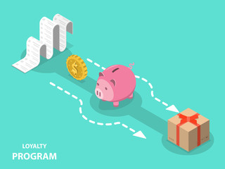 Loyalty program flat isometric vector concept of earning points and getting reward, cash back.