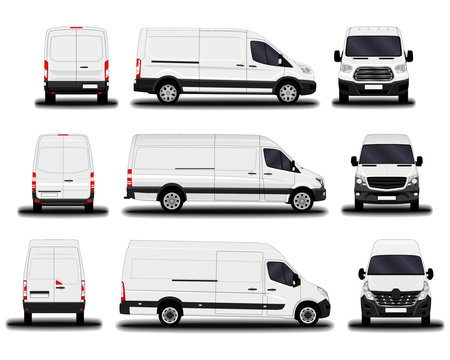 realistic cargo vans. front view; side view; back view.