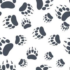 Bear Claw. Bear Footprint Seamless Pattern. Vector