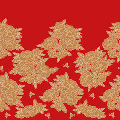 Peony japanese pattern seamless vector. Oriental border red floral background. Vintage gold flower print for dress or skirt fabric, asian kimono textile, woman scarf, tablecloth, bedlinen, wallpaper.
